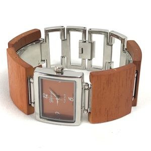 Pumpkin Spice Wood and Silver Bracelet Watch